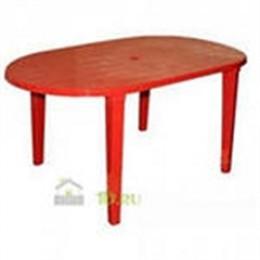 Стол пласт. овал. 1400х800х710 Красный